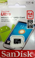 SanDisk Ultra 64 GB MicroSD Card Class 10 30 MB/S  Memory Card