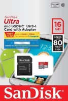 SanDisk Ultra 16 GB MicroSDHC Class 10 80 MB/s  Memory Card(With Adapter)