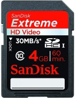 SanDisk Extreme 4 GB SDHC Class 10 30 MB/s  Memory Card