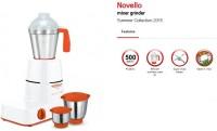 MAHARAJA WHITELINE MX 141 Novello 500 W Mixer Grinder (3 Jars, White, Orange)