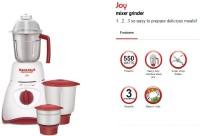 Maharaja Whiteline Joy Happiness MX 130 550 W Mixer Grinder(White, Red, 3 Jars)