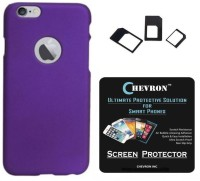 Chevron Rubberized Matte Hard Back Cover Case for Apple iPhone 6S with HD Screen Guard & Multi Sim Adapter Accessory Combo(Purple)