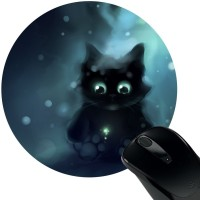Huppme Black Cat Rubber Mousepad(Black)