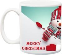 ME&YOU Gift For Famaly/Relative;Merry Christmas Sky Blue BG Printed Ceramic Mug(325 ml)