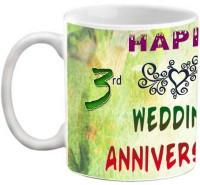 EFW Happy 3rd Wedding Anniversary 325 ml Photo Personalized Ceramic Mug(325 ml)