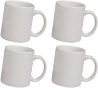 Snapgalaxy White Combo of 4 pcs Ceramic Mug(1280 ml, Pack of 4)