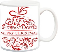 ME&YOU Gift For Famaly/Relative;Merry Christmas With Red Font In White BG Printed Ceramic Mug(325 ml)