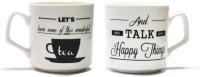 EK DO DHAI Tea Talk Bone China Mug(180 ml, Pack of 2)