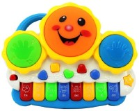 Gift World Drum Keyboard Musical Toys With Flashing Lights(Multicolor)