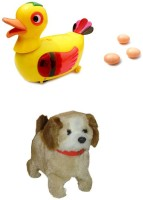 A R ENTERPRISES Egg Laying Duck Bump And Jumping Dog Baby Toys(Multicolor)