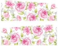 SENECIO� Lovely Pink Rose French Nail Art Manicure Decals Water Transfer Stickers 1 Sheet(Pink/Green) - Price 115 72 % Off