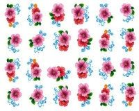 SENECIO� Hibiscus Multicolor Floral Nail Art Manicure Decals Water Transfer Stickers 1 Sheet(Multicolor) - Price 105 73 % Off
