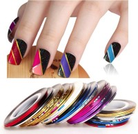 Looks United 20 X Random Color Nail Art Striping Rolls Tape Nail Sticker Nail Tip Decoration(Mix Color)