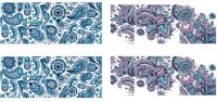 SENECIO� 2 Patterns Turquoise Blue Pink Blooming Water Transfer Nail Art Decal Sticker(Turquoise) - Price 119 82 % Off
