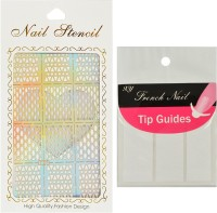 Looks United Nail Art Stencil And French Manicure Nail Tip Guides(Silver, White)