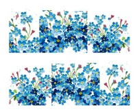 SENECIO� Blue Cherry Blossom French Nail Art Manicure Decals Water Transfer Stickers 1 Sheet(Blue)