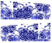 SENECIO� Royal Blue White Flower Full Wraps Nail Art Manicure Decals Water Transfer Stickers 1 Sheet(Royal Blue) - Price 99 75 % Off