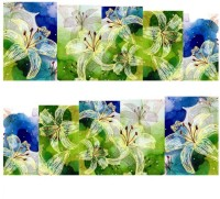 SENECIO� Blue Green 3D Printed Lily Nail Art Manicure Decals Water Transfer Stickers 1 Sheet(Blue Green)