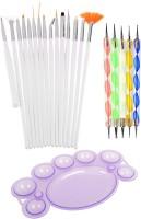 Lifestyle YOU Combo of 15 Pcs Nail Art Brush Set and 5 Pcs Nail Dotting tools plus free Nail Paint Mixing Palette(White)