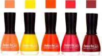 Fashion Bar Peach ,Yellow ,Dark ,Orange ,Pink ,Maroon Shades Nail Polish 145351 Peach ,Yellow ,Dark ,Orange ,Pink ,Maroon(45 ml, Pack of 5)