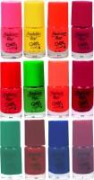 Fashion Bar Neon Nail Polish Combo 04 Multicolor(60 ml, Pack of 12)