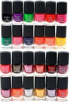 Foolzy Pack of 24 Glitter Nail Paint Multicolor(168 ml, Pack of 24)
