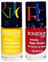 Bonjour Paris Round Nail Polish 23 Multicolor(Pack of 2)