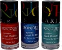 Bonjour Paris Round Cap Nail Polish 52 Red, Blue, Green(Pack of 3)