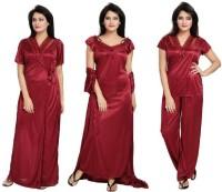 Bluemoon Garments Women Nighty Set(Maroon)