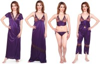Fabme Womens Nighty with Robe, Top and Capri(Purple)