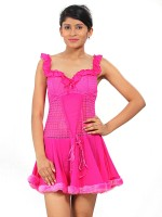 Fabme Womens Nighty(Pink)