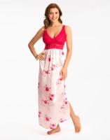 PrettySecrets Women's Nighty(White, Pink)