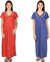 Simrit Women's Nighty(Red, Blue)