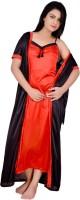 Kanika Women Nighty with Robe(Orange, Black)