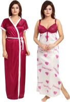 Shopping Station Women Nighty with Robe(Pink)