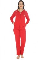 La Zoya Womens Solid Red Top & Pyjama Set