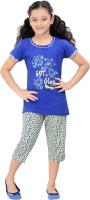 Red Ring Kids Nightwear Girls Printed Cotton(Blue)