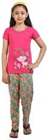 Red Ring Kids Nightwear Girls Self Design Cotton