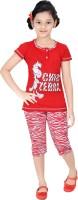 Red Ring Kids Nightwear Girls Printed Cotton