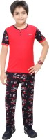 Red Ring Kids Nightwear Boys Printed Cotton(Red Pack of 2)