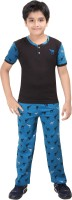 Red Ring Kids Nightwear Boys Printed Cotton(Blue Pack of 2)