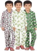 Meril Kids Nightwear Boys Graphic Print Cotton(Multicolor)