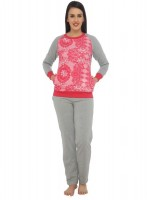 La Zoya Womens Printed Grey Top & Pyjama Set
