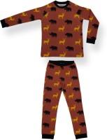 Ventra Kids Nightwear Boys Printed Cotton(Orange Pack of 2)