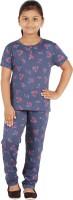 FICTIF Kids Nightwear Girls Printed Cotton(Blue Pack of 1)