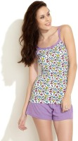Heart 2 Heart Women's Solid Purple Top & Shorts Set