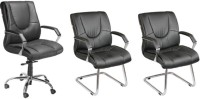 View Mavi Leatherette Office Arm Chair(Black, Set of 3) Price Online(Mavi)