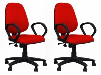 View HOMESTOCK Fabric Office Arm Chair(Red, Red, Set of 2) Furniture (HOMESTOCK)