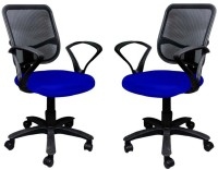 View Mavi Fabric Office Arm Chair(Blue, Set of 2) Price Online(Mavi)
