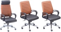 View Mavi Leatherette Office Arm Chair(Orange, Set of 3) Price Online(Mavi)